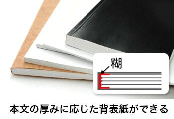 無線綴じは本文の厚みに応じた背表紙ができます