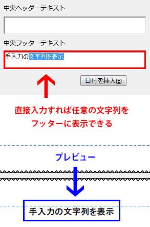 テキストを直接入力すれば任意の文字列を表示させることも出来ます