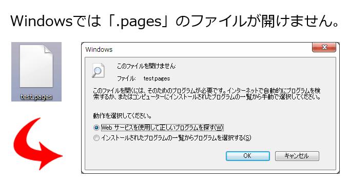 Windowsでは拡張子が「.pages」のファイルは開けません